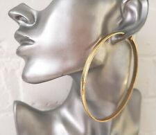 Stunning gold tone 9cm patterned wide - flat tube big round hoop earrings   #J2