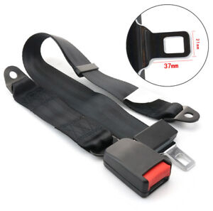 Universal Adjustable 2 Point Car Safety Seat Lap Belt Buckle Kit Black Strap 1x