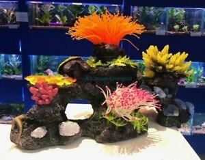 37cm Fluro Multi Colour Statement Coral Rock Plants Aquarium Reef Ornament COR10