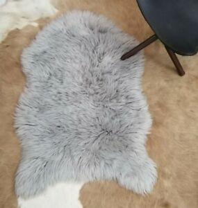 Sheep Skin Rug Grey Shade 2x3 ft White Faux Sheep Looks Like Real hair on fur ru