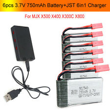 6x 3.7V 750mAh Batería+JST 6 en 1 Puertos Cargador Para MJX X400 X500 X800 RC Q1
