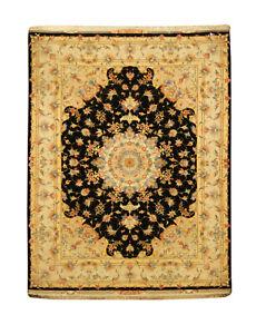 Beautiful Persian Tabrez Silk Black Carpet 5x7 Special Offer