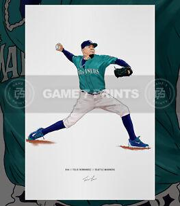 Felix Hernandez Seattle Mariners Baseball Illustrated Print Poster Art King