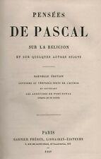 Blaise Pascal: Pensées sur la Religion   1869