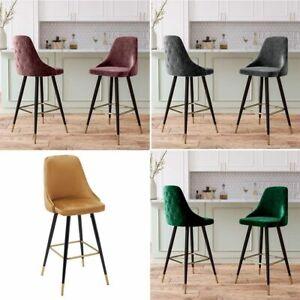 2Pc Velvet Bar Stools High Legs Chairs Padded Seat Pub Kitchen Breakfast Home UK
