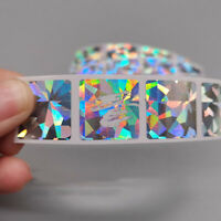 200 Pcs Square Scratch Off Stickers Holographic Laser Game Card Ticket DIY 2x2CM