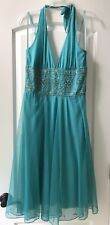Adrianna Papell 0374 Womens Green Chiffon Embellished Halter Party Dress 12