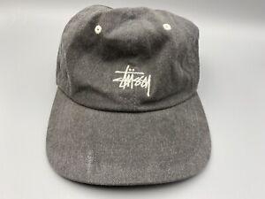 Stussy Spell Out Logo Adjustable Baseball Hat Cap Gray Vintage Skateboarding