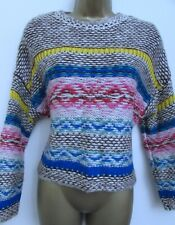 PULL & BEAR ZARA LADIES BEIGE BLUE YELLOW RED KNITTED COSY JUMPER SIZE XS 8