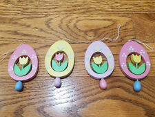 Vintage Flat Wood Pastel Painted Easter Egg Ornaments w Rotating Tulips