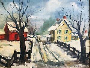Antique MURPHY - PA NY NJ MA Impressionist Red Barn Winter Landscape Oil Canvas
