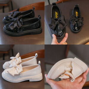 KIDS LEATHER SHOES GIRLS INFANTS SPANISH BOW WEDDING SCHOOL PARTY LOAFERS SHOES