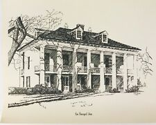 Rene Beauregard House New Orleans H A Perez 1970 Vintage Lithography Sketch