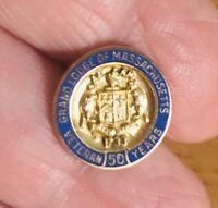 Vintage Enamel Grand Lodge of Massachusetts 50 Year Veteran Pin 1/10th 10k