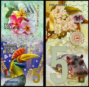 5 DOLLARS AVRORA ISLAND  animals POLYMER COLLECTION BANKNOTE UNC UNCIRCULATED
