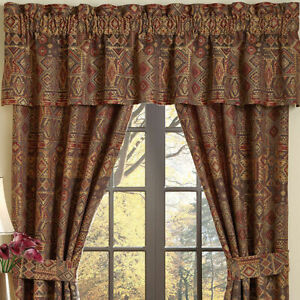 """Croscill PAYSON Tailored Valance 88"""" W x 17"""" L  rust/golds/brown MSRP $100 - NEW"""