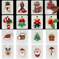Christmas Tree Felt Cloth Snowman Brooch Pin Crystal Pearl Card Jewellery Gifts