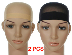 2 x Wig Cap Black Breathable Stocking Nylon Stretch Hair Liner Hijab Unisex New