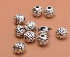 30pcs Tibetan Silver Charms Round Spacer Beads DIY Jewelry 8mm A3144