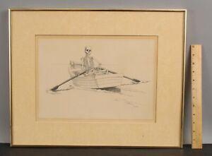1977 Original JULIAN LANDA Surrealist Surreal Pencil Drawing SKELETON & Rowboat