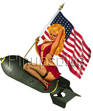 Waterslide Decal Sticker Sexy Blond Pinup Girl Riding Bomb American Flag