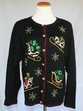 Christmas Cardigan Sweater Medium Black Leopard Print Sleighs Beads Sequins T01
