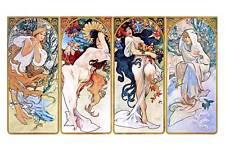 "Alphonse Mucha `Four Seasons'  *FRAMED* CANVAS ART Poster 24x16"""
