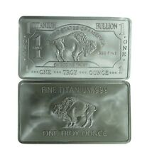 1 oz One Troy Ounce Buffalo .999 Pure Titanium Bullion Bar Ti Element