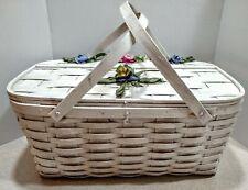 Vintage White Large Woven Wood  Picnic Basket  Hinged Lid