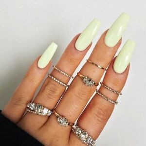 Super Long Ballert Beige Glossy Artificial Press On Nail Fake Nails Natural Tips