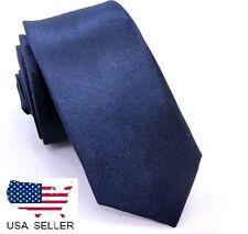 """NEW Men Navy Blue Skinny Slim Retro Tie Narrow 2"""" Wide Thin Necktie Solid Color"""