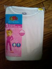 NWT GIRLS 2-PC THERMAL UNDERWEAR SET WHITE FOTL BRAND SMALL 6/6X