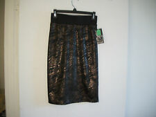 """LOOK"" New! Size M Ava & Grace Ladies Black Print Stretch Straight Knee Skirt"