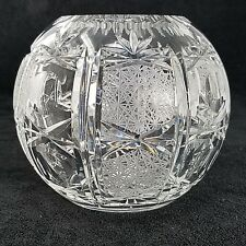 Cut Crystal Rose Bowl Flower Vase Round Globe Criss Cross Fan Thumbprint design