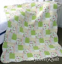 Lime Green Creamy White Garden Patches Quilted Baby Cot Crib Quilt Throw - NEW