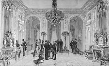 PALAIS de l'ÉLYSÉE: GRAND SALON d'HONNEUR en 1880 - Gravure du 19e siècle