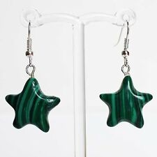 Semi-Precious Star Shaped Stone Silver Earrings - Green Malachite