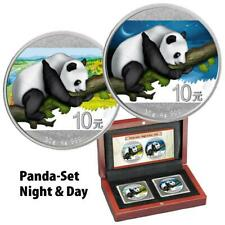 China - 2 x 10 Yuan 2016 - Panda - Night & Day Satz - 2 x 30 gr Silber ST
