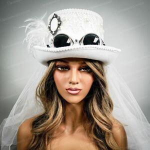 Wedding Steampunk Top Hat Venice Veil White Burning Man Wedding Costume Goggle