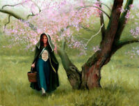 Hand painted Oil painting Tyler Timothy Spring Stroll young woman in landscape