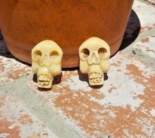 SET OF 2 DAY OF THE DEAD SKULL S HAND CARVED BEAD PENDANT WITH FREE SHIPPING