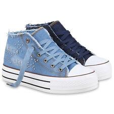 Damen Sneakers Jeans Denim Nieten Sneaker Wedges Plateau 814418 Schuhe