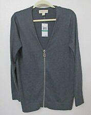 Michael Kors Zip Up V-Neck Gray Sweater Top Sz L,Soft Lux Angora,Cashmere Blend
