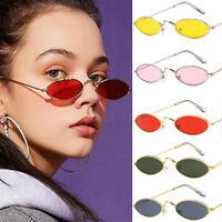 Women Men Fashion Vintage Oval Sunglasses Brand Small Slim Lens Sun Glasses WU