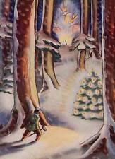 Woodman looking in Snowing woods for Christmas Tree