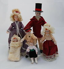 Vtg Dollhouse Miniature Porcelain Doll Family Wire Wrapped Colonial Costume 6pc
