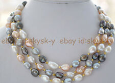 New 9-10mm white pink gray black baroque freshwater pearl necklace 50inch