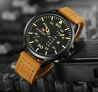 Herren Uhr Datumzeige Quarzuhr Armbanduhr Analog Lederband Sport Gelb Mode 27cm