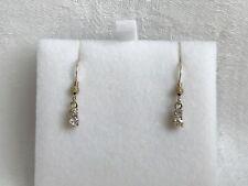 Estate Vintage Solid 14KT Yellow Gold Dangle 2 Drop Diamond Earrings Dainty