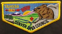 OLD TAHOSA OA LODGE 383 BSA DENVER AREA COUNCIL CO PATCH SCENIC CONEY FLAP MINT!